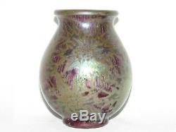 09e42 Ancien Vase En Céramique Irise Clément Massier Golf Juan Art Nouveau 1900