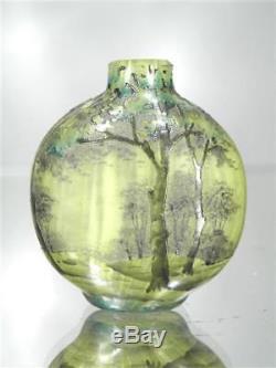 1900-10 Daum Nancy Rare Vase Miniature Pte De Verre Gravé Emaillé Art Nouveau