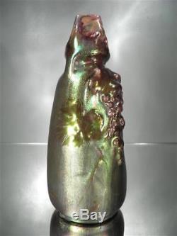 1910-20 J. Barol Montières Petit Vase En Faïence À Lustre Métallique Art Nouveau