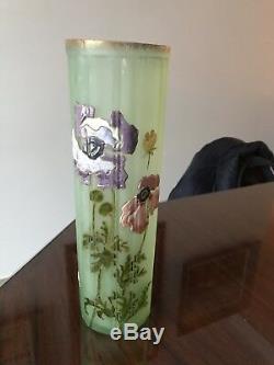 2 Grands Vase signé LEGRAS Art Nouveau 31 Cm de hauteur émaillé