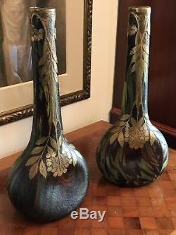 2 Grands Vases Art Nouveau Legras Montjoye