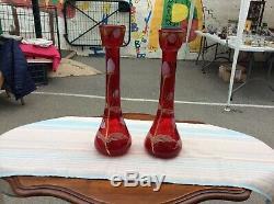 2 Vases Legras Pate De Verre Soufflee Emaillee Aux Chardons Art Nouveau Deco