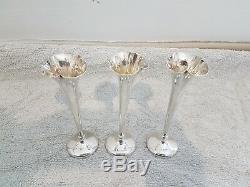 3 Vases Tulipe au Col Dentelé, Argent Sterling, Art Nouveau, Poinçons d'Orfèvre