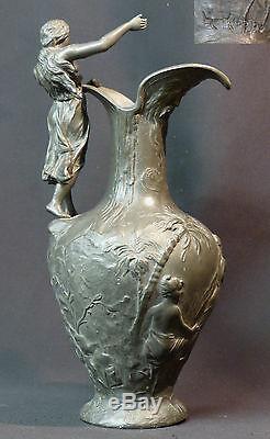 AF 1900 superbe pichet H. HUPPE étain 1.9kg34cm art nouveau Moïse sur le Nil +