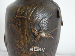 ANCIEN VASE en Régule Décor Oiseaux Signé AUGUSTE MOREAU, époque Art Nouveau