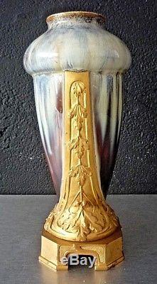 ART NOUVEAU-ART DECO-VASE signé LOUCHET céramique et bronze doré-top qualité