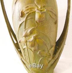 ART NOUVEAU GRAND VASE signé BLANCHE POCCARD DE SAINTILAU SALON 1902
