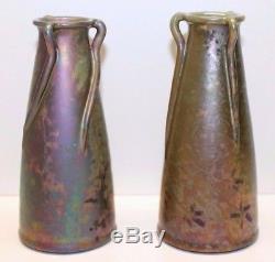 Aire-Belle, rare paire de vases en céramique irisée, Art Nouveau Clément Massier