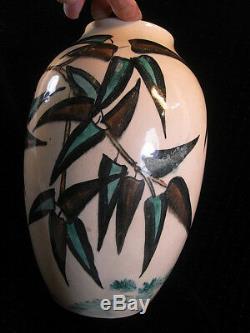 Ancien Grand Vase Art Deco Nouveau Oiseau Grue Heron Signe