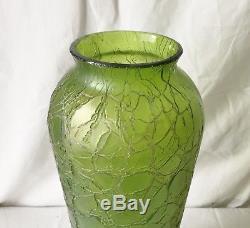 Ancien Grand Vase Art Nouveau Verre Craquelé LOETZ Monture Bronze 46,5 cm TBE