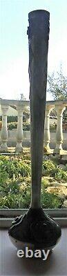 Ancien Grand Vase Etain D'art Art Nouveau 1920/25 Signe A. Villien Dn1819