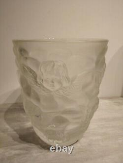 Ancien Gros Vase art nouveau Lalique, décor angelots (Ma)