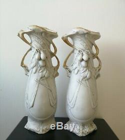 Ancien Paire de vase art nouveau Royal Dux hauteur 40cm Royal dux 1900