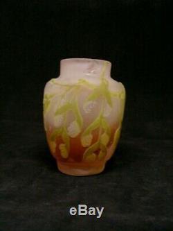 Ancien Petit Vase Art Nouveau Emile Galle Feuilles De Platane