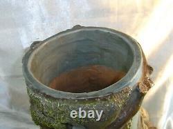 Ancien Rare Grand Vase Terre Cuite Polychrome Signe George Trinque Art Nouveau