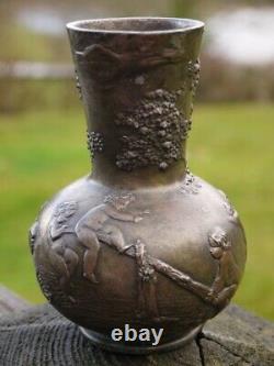 Ancien Vase Etain Charles Perron Vers 1890-1900 Décor Amour Putti Art Nouveau