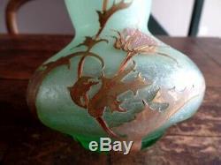 Ancien Vase Pate De Verre Degage A Lacide Signe Montjoye Mont Joye Art Nouveau