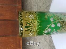 Ancien Vase Rouleau, Decor Emaille, Muguet, Montjoye, Legras, 1920, Art Nouveau