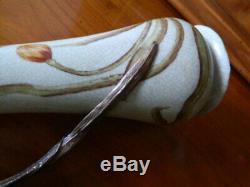 Ancien paire de vase ART NOUVEAU en porcelaine et anse en bronze 24cm J. B. T