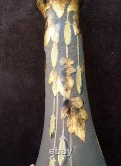 Ancien rare vase pate de verre dégagé a l acide LEGRAS art nouveau fruits dorure