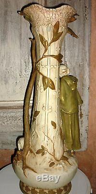 Ancien trés grand vase Royal Dux Bohemia bergère chèvres Art nouveau 58cm
