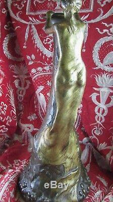 Ancien vase aiguiere bronze 2 patine art nouveau nouille epoq 1900 signé ap upia