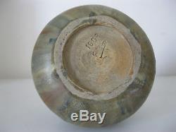 Ancien vase boule Alexandre Bigot grès flammé Art Nouveau signé TBE
