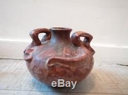 Ancien vase ceramique art nouveau grès émaillé cachet a voir époque 1900