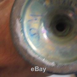 Ancien vase de Delphin MASSIER irisé, irisation signé DM VALLAURIS