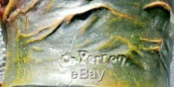 Ancien vase en régule art-nouveau nageuses signé CH-PERRON