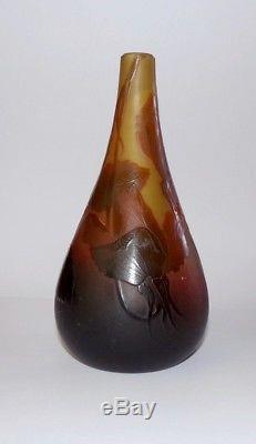 Ancien vase pate de verre signé d'Argental + croix de Lorraine Art Nouveau