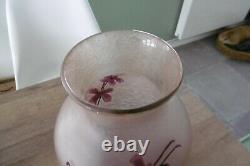 Ancien vase signé Legras émaillé givré dégagé à l'acide art nouveau