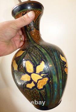 Ancienne Lampe/ Vase Faience Rozenburg Art Nouveau Pottery Den Haag Netherlands