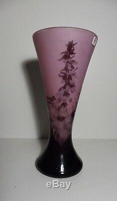 André DELATTE (1887-1953), Digitales, Imposant Vase diabolo signé, h 34 cm