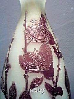 André DELATTE NANCY vase art nouveau, fleurs travail à l'acide-daum-gallé-lalique