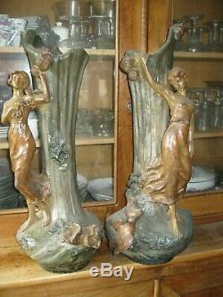 Art Deco/nouveau Paire Grands Vases Attribues A Francis La Monica