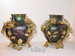 Art Nouveau Jugendstil Loetz Paire vases en verre irisé et bronze doré