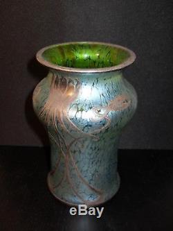 Art Nouveau Sublime Vase LOETZ Crete Papillon Silver Overlay