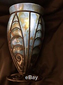 Art Nouveau VASE MAJORELLE DAUM VERRE OPALESCENT ORANGE 1930 H 32 Cm