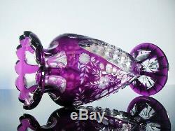 Art Nouveau Vase Cristal Couleur Double Taille St Louis Baccarat Bohême 1890
