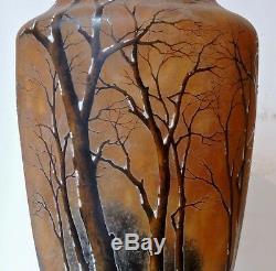 Art Nouveau Vase Paysage Hiver Daum Nancy Winter Land Glass Vase Circa 1900