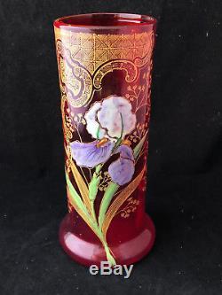 Art Nouveau Vase Verre Emaillée Irys Antique Glass French Jugendstil Vers 1900