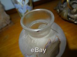Art nouveau petit vase verre émaillé décor acanthe verre dépoli blanc laiteux