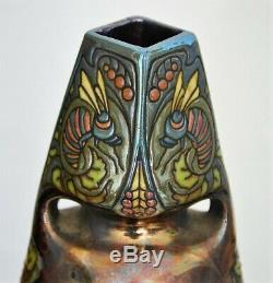 Art nouveau vase Montières Amiens irrisé émaillé émaux papillons H. 30 cm