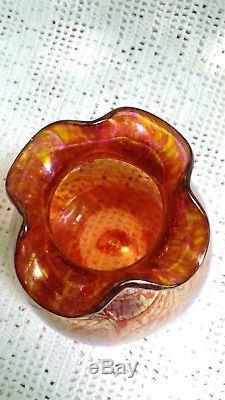 Austria Iridescent Glass Vase Dlg Loetz Décor Papillon Art Nouveau 1900