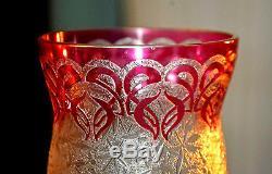 BACCARAT. Vase Art nouveau en cristal multicouche (33cm), décor d'orchidées