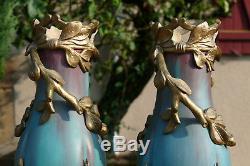 BAUDIN Eugène Magnifique paire de vases Art Nouveau Ceramic French 19th
