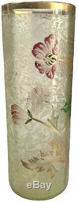 Baccarat / Daum Vase En Verre Givré Degagé A Lacide Eglantier Art Nouveau