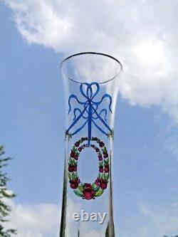 Baccarat Enamelled Crystal Vase Cristal Emaille Grave Louis XVI Art Nouveau 1900
