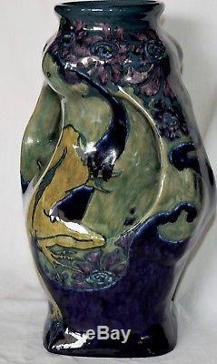 Beau Vase Art Nouveau En Ceramique De Rozenburg Den Haag Holland Jugenstil